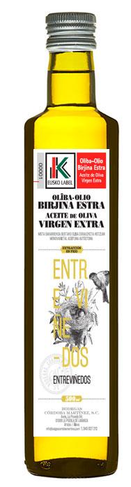 Aceite de oliva virgen extra con Eusko Label Entreviñedos